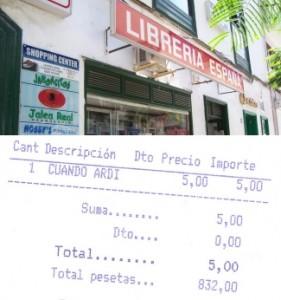 Buchladen und Quittung mit Peseten