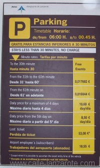 Airport parking charges, October 2009