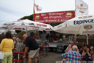 The German sausage stand at Teguise Market