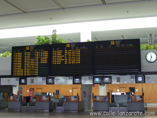 Check-in desks at Arrecife airport