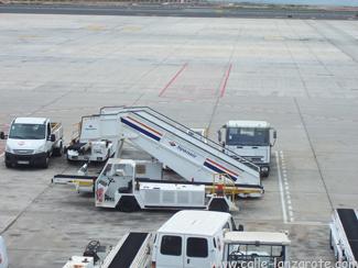 Spanair aircraft steps on the tarmac in Arrecife